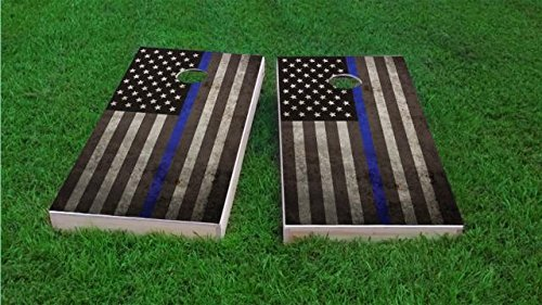 American Thin Blue Line Cornhole Set, 2x4, Wood, Hand Painted, Corn Filled Bags