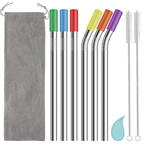 Angled Mouthpiece - Reusable Boba Straws and Smoothie Straws with Silicone Tips, 12mm/0.5