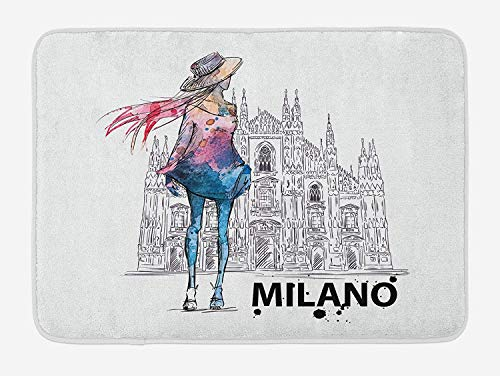 (Emiqlandg Fashion Bath Mat, Girl with Fashion Clothes Looking Back to Milano Duomo Image Watercolor Style Print, Plush Bathroom Decor Mat with Non Slip Backing, 23.6 W X 15.7 W Inches, Multicolor)