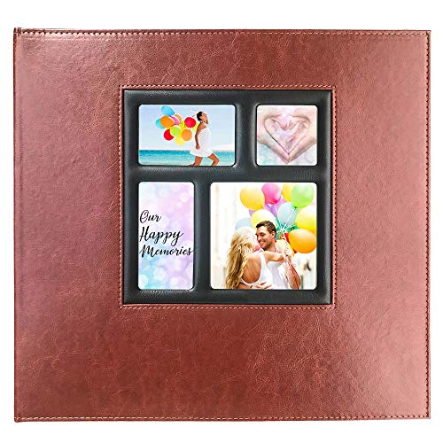 Photo Album 4x6 610 Photos - Page Refillable, Leather Picture Album with Display Window Holds 610 4x6 Photos for Wedding, Baby, Family, Graduation, Travel, Anniversary (Brown)