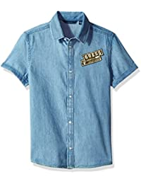GUESS Big Boys' Short Sleeve Patch Denim Shirt