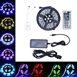 LED Strip Light ANNT RGB 5050 Flexible Light Strip 300Led Multicolor Tape Lights 16.4ft 5M SMD 44 Key Remote Supply Power Waterproof Rope Light Holiday Kitchen Outdoor Party Wedding Car Decoration