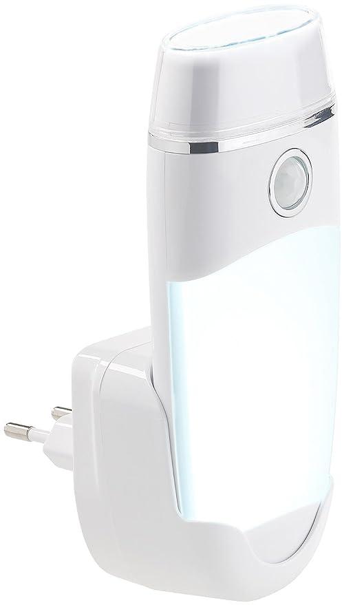 Lunartec Steckdosenlampe: 4in1-Multifunktions-Leuchte & Nachtlicht mit Akku & Induktions-Ladung (Nachtlicht Taschenlampe)
