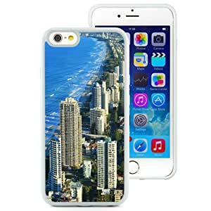 Fashionable And Unique Designed Cover Case For iPhone 6 4.7 Inch TPU With Gold Coast Australia Beach Line_White Phone Case
