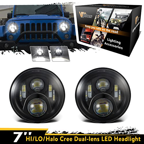 Discount 2 Pcs Vplus 7 Inch Led Headlights Hi /Lo Beam 14000LM Daymaker Led H6014 H6024 Headlight Bulbs Jeep Wrangler Headlights Assembly Tj Cj For 1997-2019 Yj Jk JKU Unlimited Rubicon