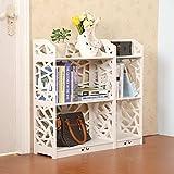 D-Line Wood and Plastic Bookcase Bookshelf Storage Shelf, White, Set of 2