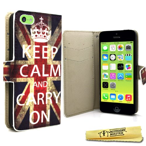 Accessory Master 5055716378597 Keep Calm and Carry On Union Jack Buch PU Leder Schutzhülle für Apple iPhone 5C