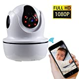1080P Full HD Wireless WiFi IP Security Camera, Remote Control Home Video Monitor Camera with Night Vision, Pan/Tilt, Two -Way Audio, Motion Detection