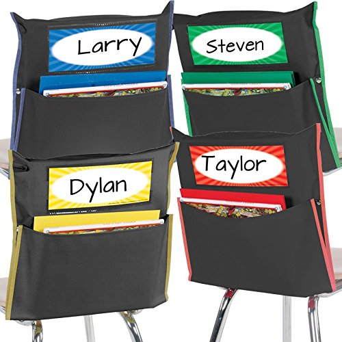 Really Good Stuff Chair Pockets with Name Tags - Set of 8 - Chair-Back Store More Organizer for Students and Classrooms (Store Back Chair)