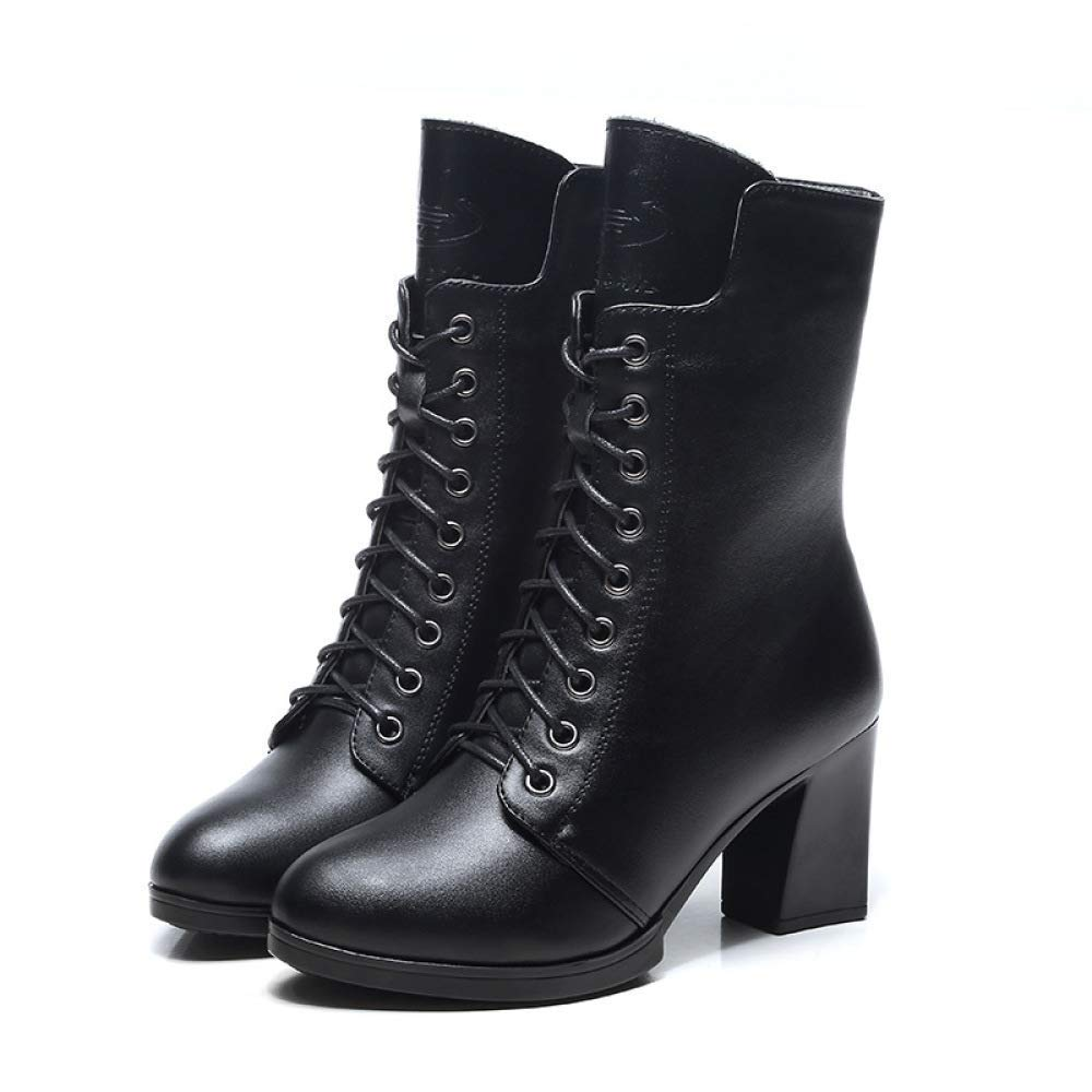 Qiusa Kurze Stiefel Damen Herbst Spitze Stiefel Europa und Amerika Kurze Röhre High Heels schwarz farblich passende Damenschuhe Ritter Stiefel (Farbe   schwarzsingle Größe   39)