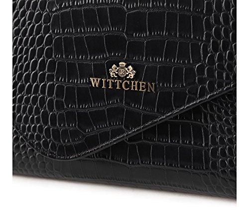WITTCHEN Klassische Tasche | 15x28cm, Narbenleder | Passend für A4 Größe: Nein | Schwarz, Kollektion: Croco | 15-4-330-1