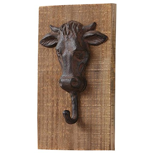 Your Heart's Delight Cow Head Cast Iron 5 x 9 Inch Wood Wall Mounted Hook Plaque Sign
