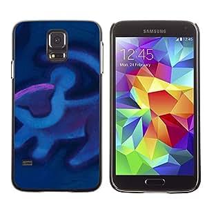 Caucho caso de Shell duro de la cubierta de accesorios de protección BY RAYDREAMMM - Samsung Galaxy S5 SM-G900 - Cave Painting Blue Purple
