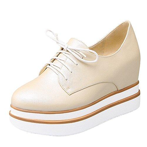 Charme Pied Femmes Confort Lacets Talon Caché Plate-forme Chaussures Décontractées Beige