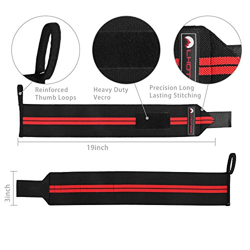 LHOTSEE Premium Wrist Straps,Professional Weight Lifting Training Wrist Straps Support Braces Wraps For Men and Women (Red) by LHOTSEE (Image #5)