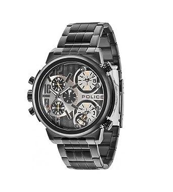 police python men s quartz watch black dial chronograph police python men s quartz watch black dial chronograph display and black stainless steel bracelet 13595jsb