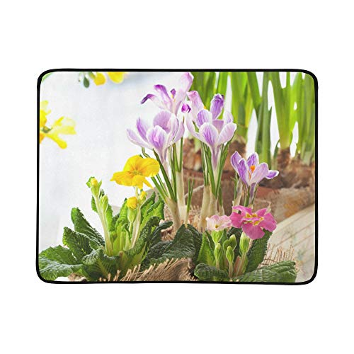 (LIANPEN Spring Yellow Flower Narcissus with Garden Pattern Portable and Foldable Blanket Mat 60x78 Inch Handy Mat for Camping Picnic Beach Indoor Outdoor Travel)
