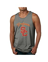 USC Trojans Logo Men's 100% Cotton Sleeveless Shirt Ash