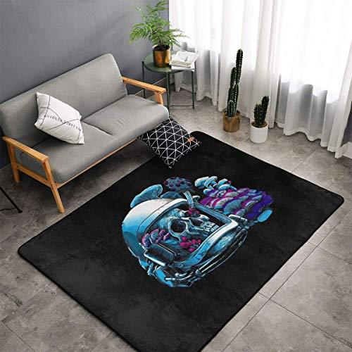 Jingclor Space Skull Astronaut Art Area Rugs, Bedroom Living Room Kitchen Mat, Non-Slip Floor Mat Doormats Nursery Rugs, Children Play Throw Rugs Carpet Yoga Mat