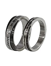 "ALBEST Jewelry Titanium Steel ""You are always in my heart"" Love Wedding Band Rings for Couples"