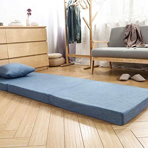 DYR Tri-fold Sponge Mattress Office Lunch Break Pad, Portable Sofa Mattress Removable Cover Tatami Mattress Ultra Soft Mattress Pad Living Room-Blue-6cm 70x200cm(28x79inch)