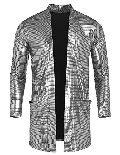 (COOFANDY Men Cardigan Fashion Lightweight Long Sleeve Causal Club Cape Silver)