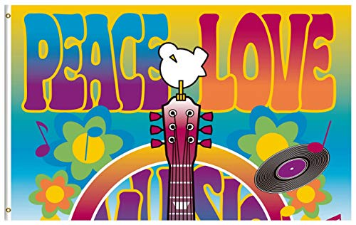 ShineSnow Peace Love Symbol Guitar Dove Woodstock Music and Art Fair 3x5 Feet Flag, Polyester Double Stitched with Brass Grommets 3 X 5 Ft Flag for Outdoor Indoor Home Decor]()