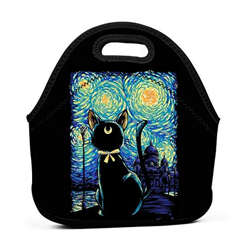 Lunch Boxes Neoprene Lunch Bag by Tote Washable Insulated Waterproof for Men Women Kids, Luna Cat Starry Night Sailor -