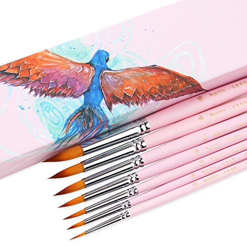 Magritte Round Brushes Synthetic Hair for Watercolor Acrylic Gouache Paint,Professional Brush Set for Artist Teens…