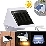 Double Four 4 LED Solar Powered Stairs Fence Garden Yard Security Lamp Outdoor Waterproof Landscape White Light No Battery Required and Recharge