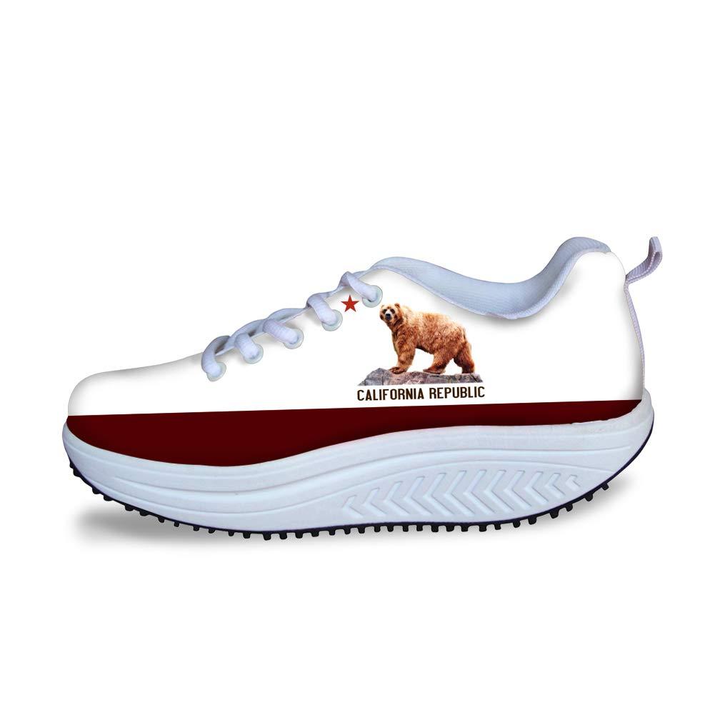 Swing Platform Toning Fitness Casual Walking Shoes Wedge Sneaker Women Grizzly Bear California Republic Flag