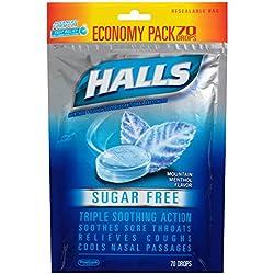 HALLS Sugar-Free Cough Drops, (Mountain Menthol, 70 Drops, 12-Pack)