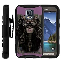 Samsung Galaxy S5 Active Case | G870 [Hyper Shock] Dual Layer Silicone Hybrid Rugged Holster Clip Impact Kickstand Case by TurtleArmor - Wolf Woman