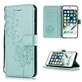 Shinyzone Protective Phone Case for iPhone 6S Plus,iPhone 6 Plus Case Embossed Butterfly Dandelion Pattern Series,Magnetic Stand Cover with Card Slots Leather Wallet Flip Case-Green