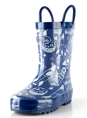 Outee Toddler Boys Kids Rain Boots Rubber Blue Waterproof Boots Space Cosmos Cute Print with Easy-On Handles Classic Comfortable Removable Insoles Anti-Slippery Durable Sole with Grip (Size 6,Blue)