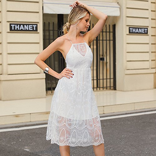 De Casual Noche MeiZiZi Encaje Meizizivestido white Bordado Vestido De Vestido 5BqwtI