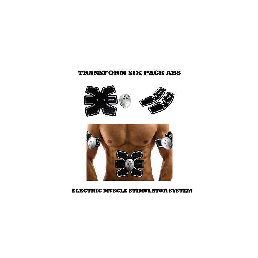Transform 6 Pack Body Sculpting Set. Pro Body Sculpting Set with multiple mode settings. Comes with 1 Ab Trainer and 2 Arm Belts.