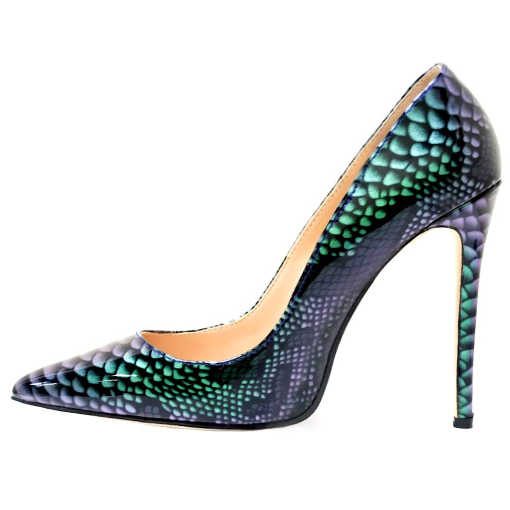9eaa9f36896 Vocosi pointy toe pumps for women patent gradient animal print high heels  usual dress shoes pumps