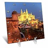 3dRose Danita Delimont - Churches - Spain, Mallorca, Palma de Mallorca. La Seu Gothic Cathedral. - 6x6 Desk Clock (dc_277911_1)