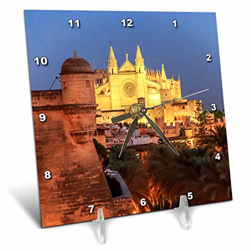 3dRose Danita Delimont - Churches - Spain, Mallorca, Palma de Mallorca. La Seu Gothic Cathedral. - 6x6 Desk Clock (dc_277911_1) by 3dRose