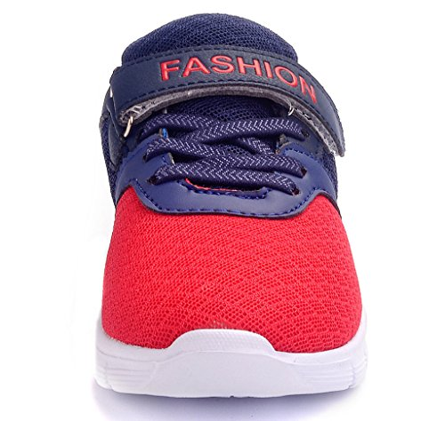 Image of DADAWEN Boys & Girls Lightweight Sneakers Breathable Athletic Running Shoes(Toddler/Little Kid/Big Kid) Red and Navy US Size 2.5 M Little Kid