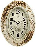 20-inch Large Size Oval-shaped Decorative Wall Clock Silent Sweep Second Quartz Movement Wall Clocks with Roses on the Border #66174 (Cream)