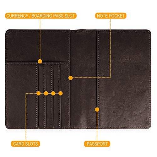 Fintie Passport Holder Travel Wallet - Premium Vegan Leather RFID Blocking Case Cover - Securely Holds Passport, Business Cards, Credit Cards, Boarding Passes, USA-Brown Photo #8
