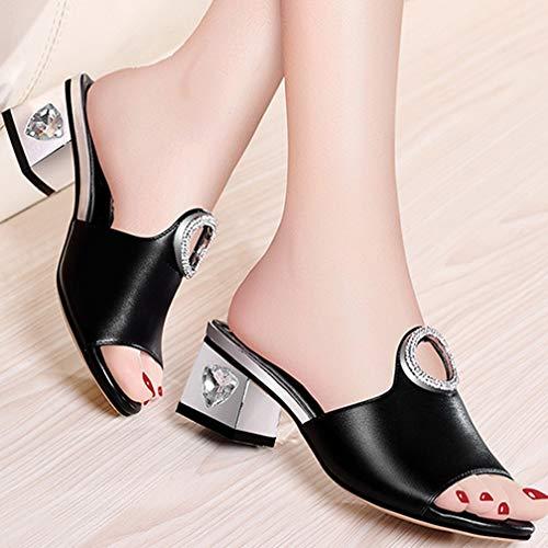 Tacón Mujer 40 black Summer Flash Alto Mules Y Sandalias Plataforma Gruesas Black Gruesa De Zapatillas Para Moda Selling Piel Ropa tBYqR