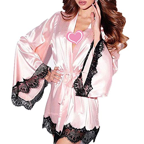 (Dunacifa Nightwear for Women Silk Kimono Nightdress Babydoll Lace Sexy Lingerie Bath Robe Nightgowns Pink)