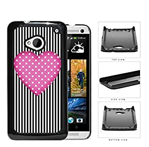 Polka Dot Pink Heart And Stripes Hard Plastic Snap On Cell Phone Case HTC One M7 by lolosakes