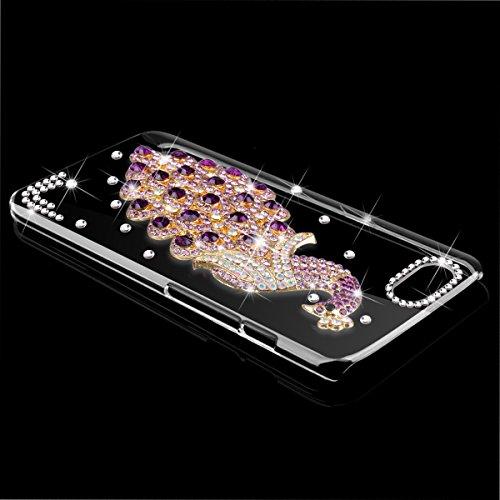 WE LOVE CASE iPhone 6 / 6s Hülle iPhone 6 6s Schutzhülle Handyhülle Im Lila Pfau Peacock Transparent Durchsichtig Muster Handytasche Handycover PC Harte und Weiches Silikon Case Anti-Scratch Handy Tas
