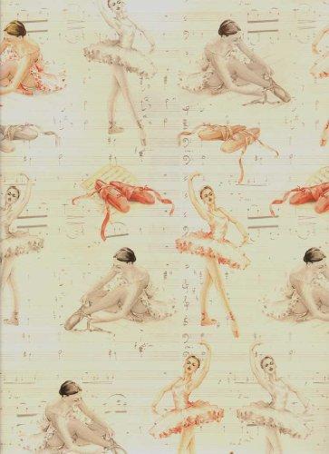 (Tassotti Ballerina, Ballet Dancing Decorative Gift Wrap 2 Sheets)