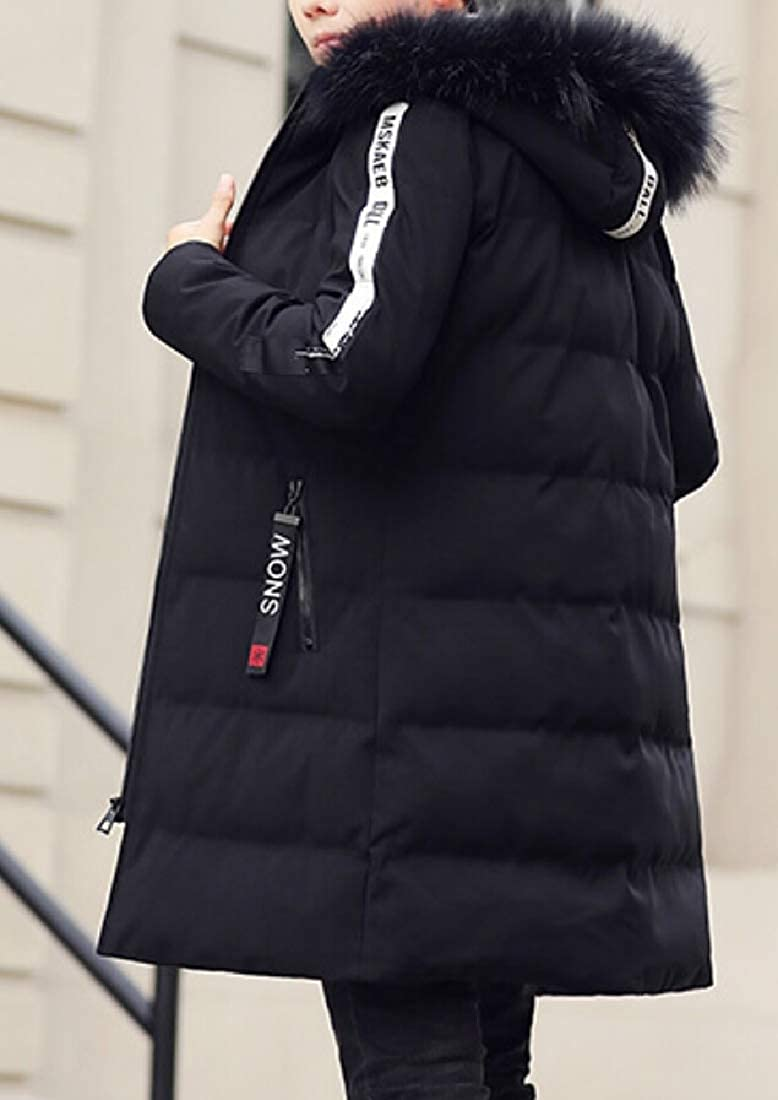 yibiyuan Mens Winter Faux Fur Lined Quilted Faux Fur Hooded Thick Coat Jackets Coat