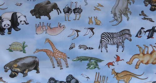 Noahs Ark Tossed Animals-Blue 21501-42 Cotton Fabric by Northcott